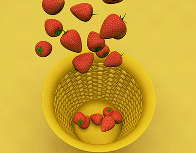 3D Strawberry with a Basket