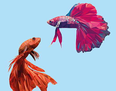 Low poly cockerel fish
