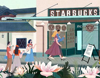 Starbucks Changsha Taozihu shop large mural