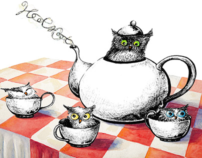 """Owls for Tea"" ink and watercolor illustration & print"