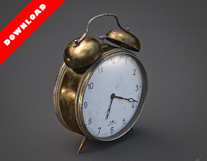 3D Old Alarm Clock