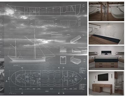 """Laivo """"Olga OB37"""" rekonstrukcijos interjero dizainas"""