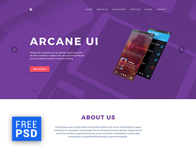 Brench - One Page Portfolio FREE PSD Template