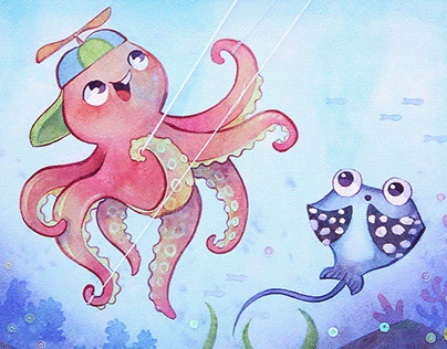 octopus flying a kite