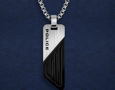 Police Silver Stainless Steel Necklace for Men