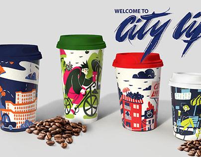 City life | Coffee cup designs