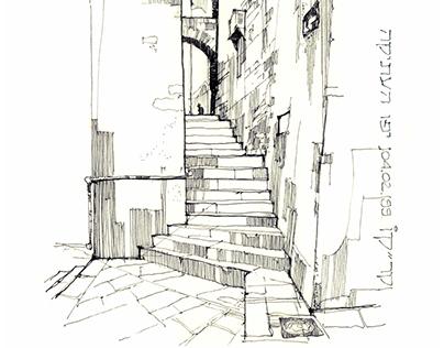 Plein air. Old Yaffa. Zodiac sign street - Virgo. Down.