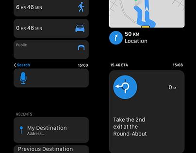 Vector Apple Watch Map Navigation Screens