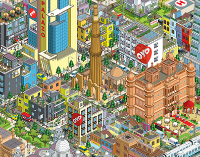 OYO Rooms: City Mural, Timeline & Book Illustrations