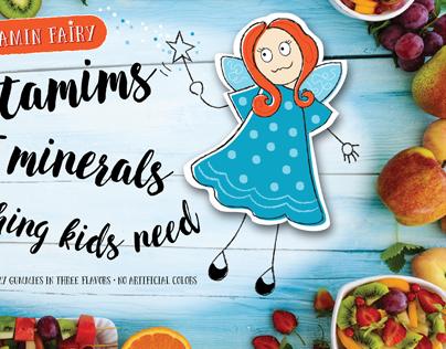 Illustration, Label and Ad for Children's Vitamins