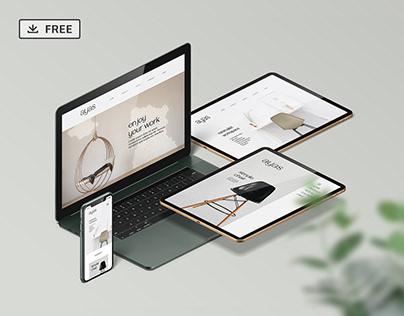 Free Responsive Screen Device - Mockup