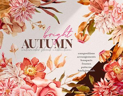Bright Autumn Watercolor Clipart
