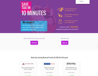 Landing Page for Tax Save season.