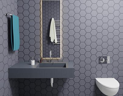 Hexagonal tiles bathroom