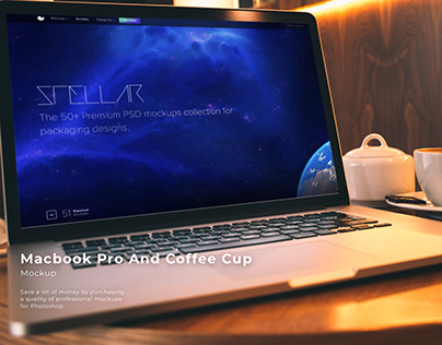Macbook Pro And Coffee Cup Mockup