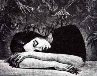 Nightmares, etching mezzo-tinto