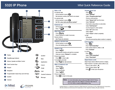 Mitel Quick Reference Guides