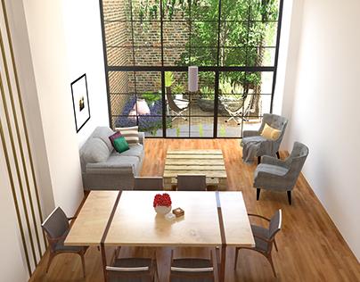 Sala comedor con solar