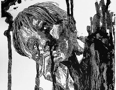 CRY BABY | linocut print