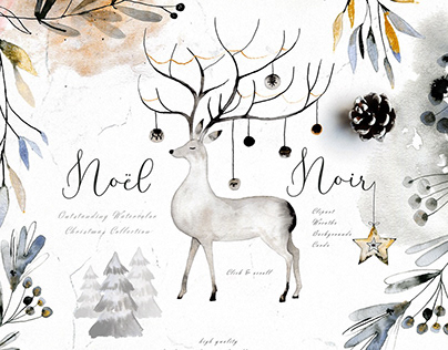 Noel Noir - Watercolor Christmas Set