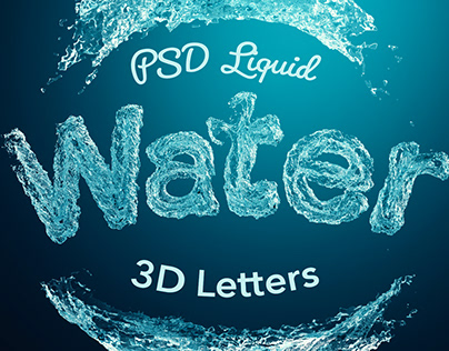 PSD Liquid Water 3D Letters
