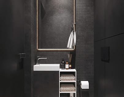 bathroom with black dressing