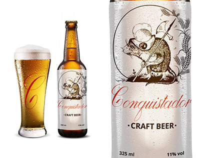 "The logo for a new brand of craft beer ""Conquistador"""