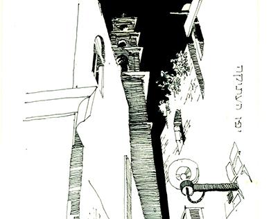 Plein air. Old Yaffa. Zodiac sign street - Virgo. Up.