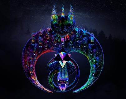 Owl & Snake Duality Totem (3D Art)