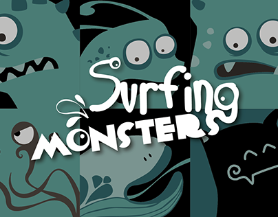 Surfing Monsters - Illustration/Clothing