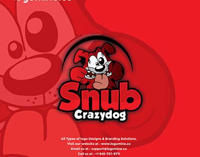 Pets and Animal Logo-Crazy Dog Logo-Vector Illustration