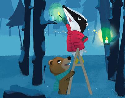 Christmas card with Boris the bear & Barney the badger.