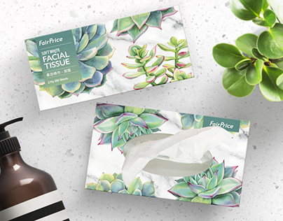"FairPrice ""BOTANICAL"" theme tissue box design"