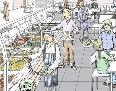 'What's Wrong?' series of food hygiene illustrations.