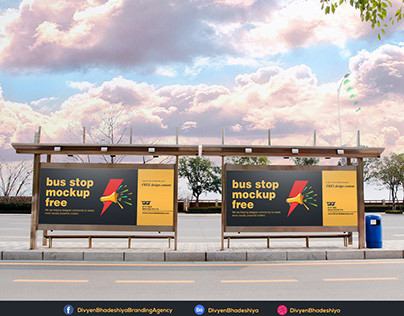 Free PSD - Bus Stop Mockup Download