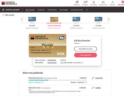 UI design d'une interface d' espace carte bancaire