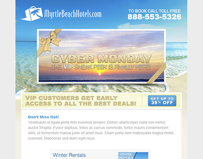 Myrtle Beach Hotels Cyber Monday Email Campaign