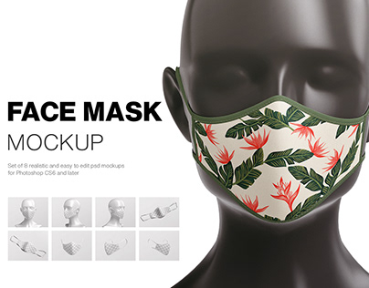 Face Mask Mockup + Freebie Scene