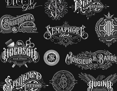 Hand-drawn monograms and lettering collection 2016-2017