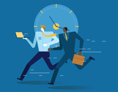 Business people running on deadline!!