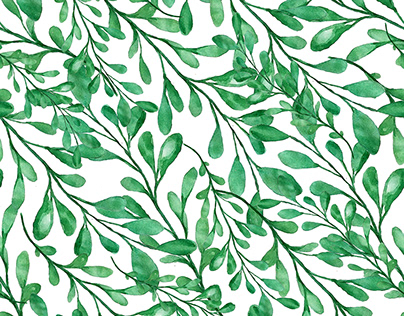 Watercolor branches seamless pattern