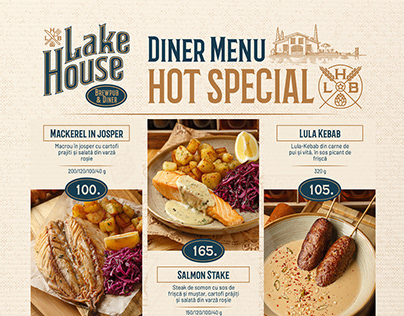 Lake House Brewery. Diner Menu