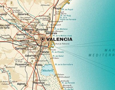 Concept design: a map of Valencia Province, Spain