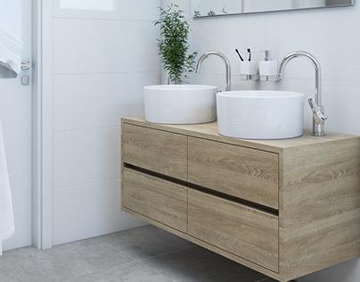 Bathroom #concrete #wood #white