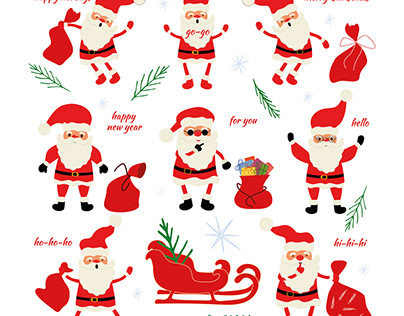 Santa Claus stickers for Christmas