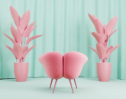 CGI   armchair set design