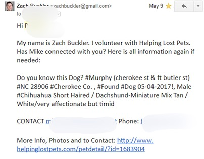 More Helping Lost Pets Email Correspondence