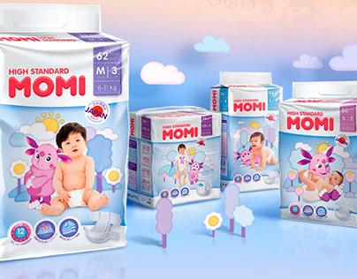 Дизайн упаковки для японских подгузников MOMI.