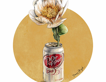 DrPepper, Pepsi, Coke with flowers