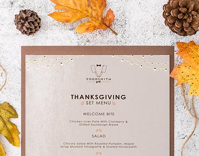 Foodsmith Grill Thanksgiving Set Menu Design